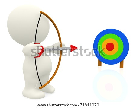 3D guy with an arch pointing at target - isolated - stock photo