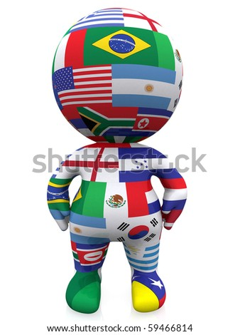 3D guy with the flags of countries from all over the world - isolated
