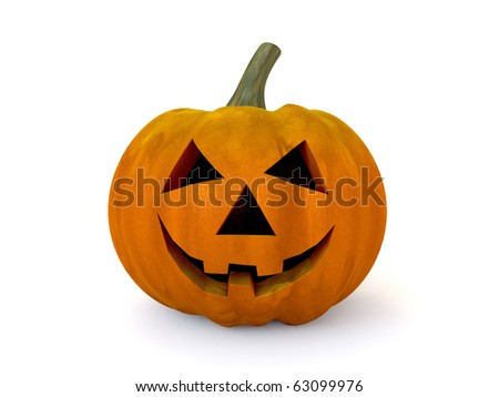 3D halloween pumpkin isolated on white background