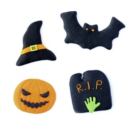 3d halloween set angry pumpkin bat tombstone design handmade clay isolated on a white background