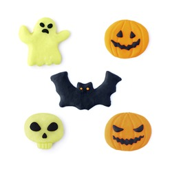 3d halloween set happy angry pumpkin bat ghost skull design handmade clay isolated on a white background