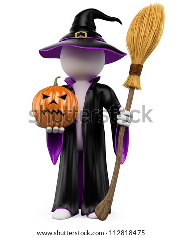 3D halloween white people. Witch dressed in a black and purple robe and hat with a pumpkin and a flying broom. 3d image. Isolated white background. - stock photo