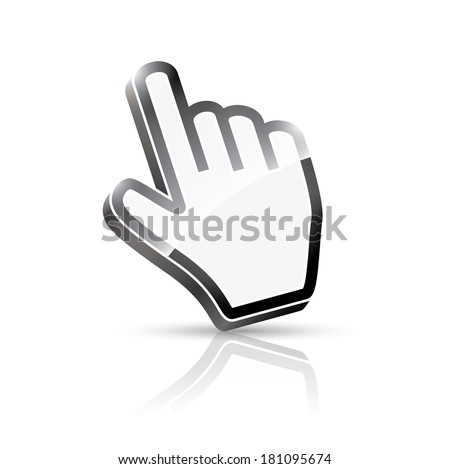 3d hand cursor illustration (rasterized version).