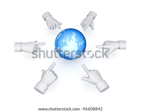3d hand cursors around Earth.Isolated on white background.