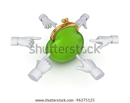 3d hand cursors around green purse.Isolated on white background.