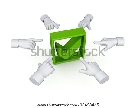 3d hand cursors around green tick mark.Isolated on white background.