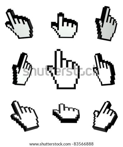 3d Hand cursors set - stock photo