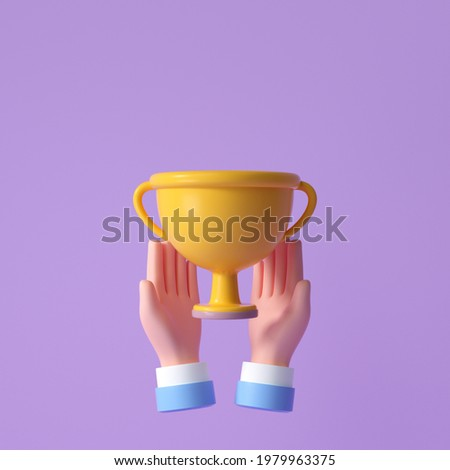 3D Hand hold yellow Trophy cup. celebration, winner, champion and reward concept. 3d render illustration