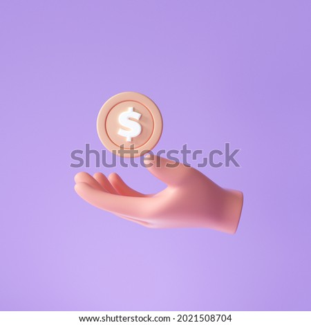 3D Hand holding a coin, money-saving, online payment, and payment concept. 3d render illustration