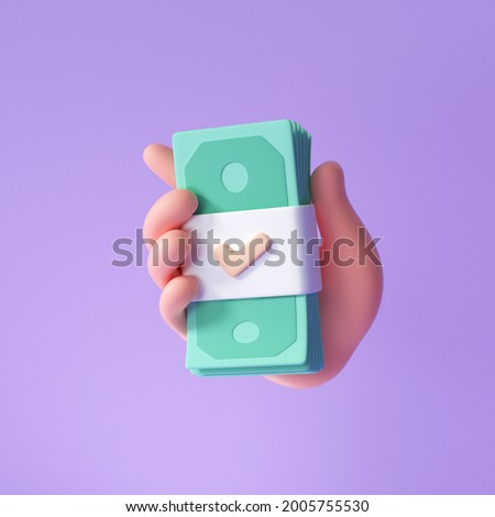 3D Hand holding banknote on purple background, money saving, online payment and payment concept. 3d render illustration