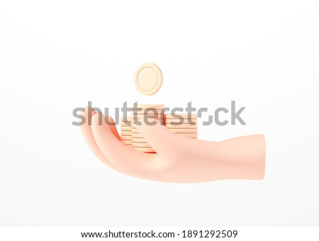 3D Hand holding coin stack on isolate white background, money-saving, online payment, and payment concept. 3d render illustration
