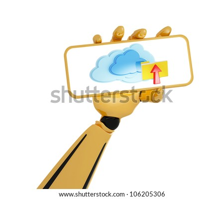 3d hand of robot hold a plate with 3d cloud computing icon with folder and arrow - stock photo