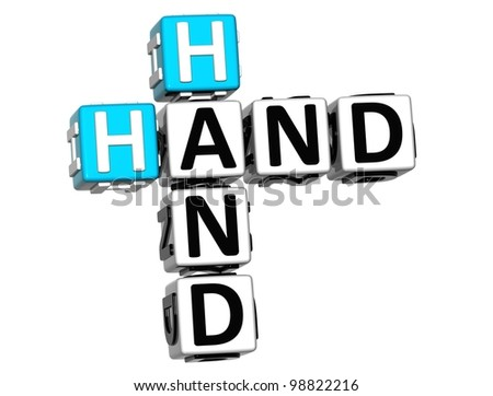 3D Hand to Hand Crossword text on white background