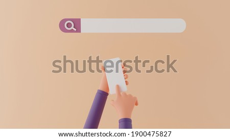 3d hand typing on a mobile phone, Searching on web search, webpage search bar, 3d rendering