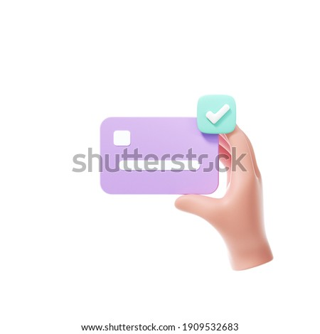 3D hand using credit card to online payment, online mobile banking and payment transaction on white background