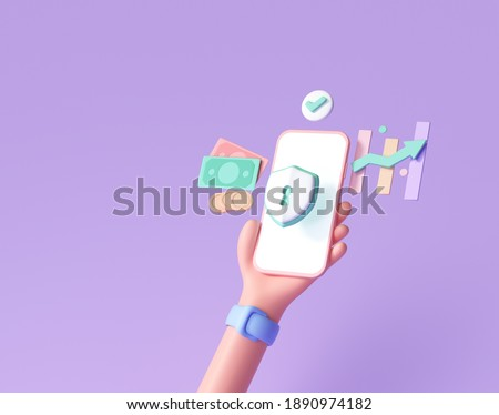 3D Handhold phone financial security, online payment protection, online transaction, online banking and online shopping. 3d render illustration