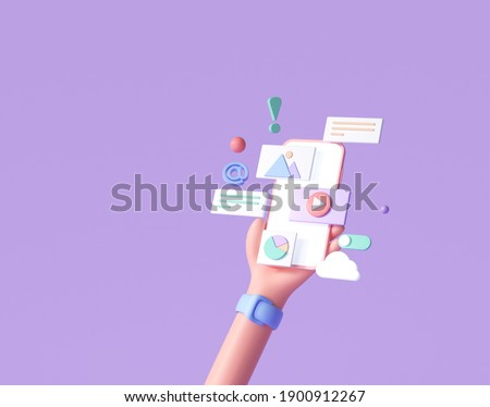 3D Handhold phone mobile app development, application building, app testing, UI-UX and web design. Abstract 3d object background. 3d render illustration