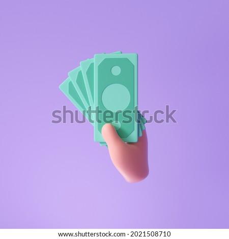 3D Handholds banknotes for money-saving, online payment, and payment concept. 3d render illustration