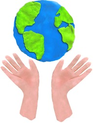 3d hands holding Southern Hemisphere clay art