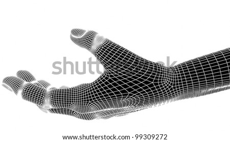3d hands isolate on white background. - stock photo