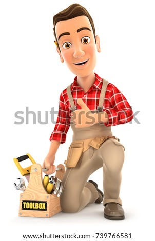 3d handyman with toolbox and thumb up, illustration with isolated white background