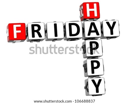 3D Happy Friday Crossword on white background - stock photo