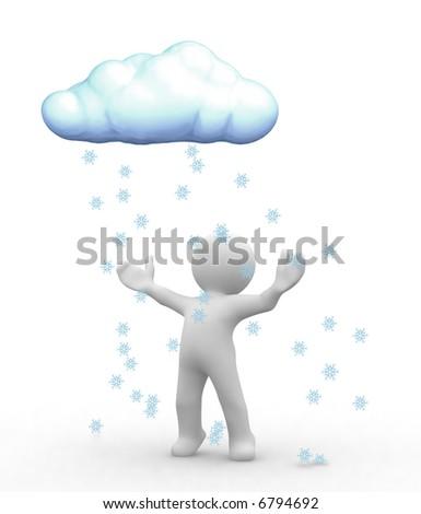 3d happy human look at snow cloud
