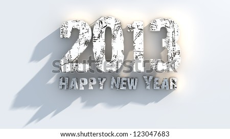 3d happy new year 2013 - stock photo