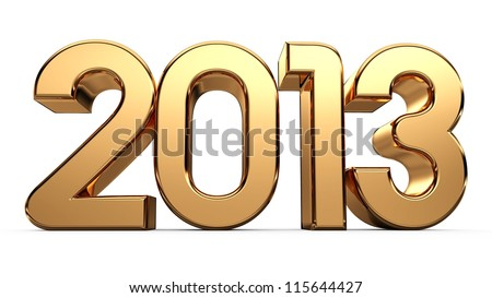 3D happy new year golden 2013...