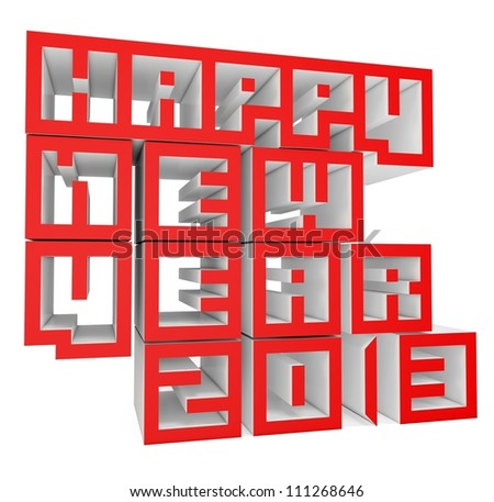3d Happy New Year 2013 on white background