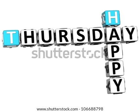 3D Happy Thursday Crossword on white background