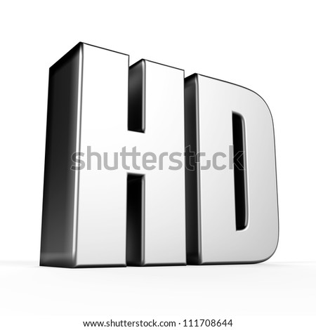 3D HD symbol on white background.