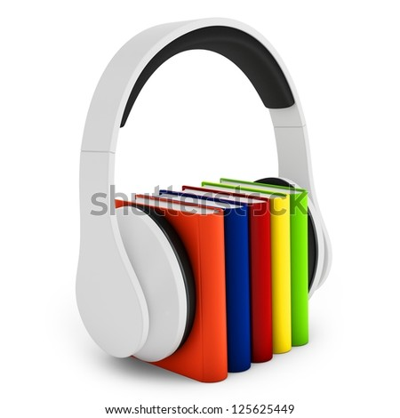 3d headphones with books audio-book concept on white background
