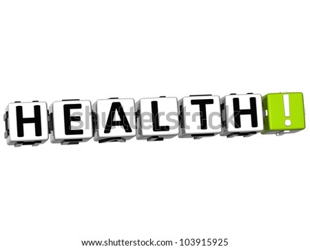 3D Health Button on white background
