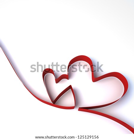 3d Heart from a red ribbon