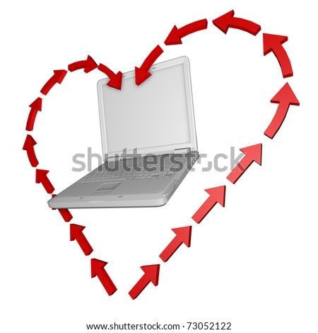 3d heart from the arrow mark inside the PC. - stock photo