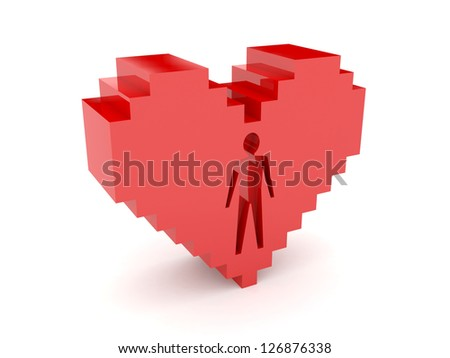 3D heart. Male figure cutout inside. Concept illustration.