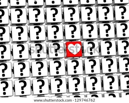 3D Heart Sign inside question marks blocks