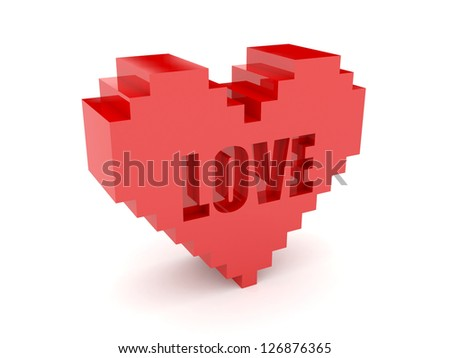 3D heart. Text Love cutout inside. Concept illustration. - stock photo