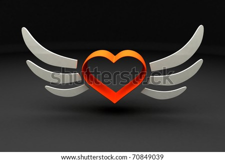 3d heart with wings
