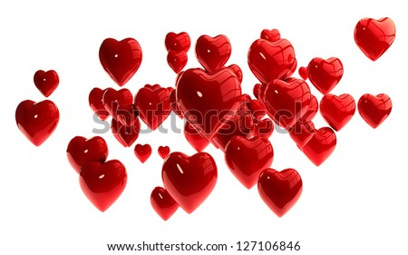 3D Hearts Isolated on White Background