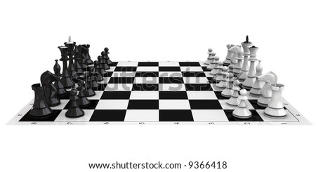 3D high quality rendered chess isolated on white