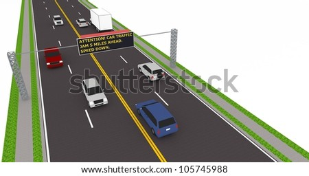3d highway with traffic led electronic sign.