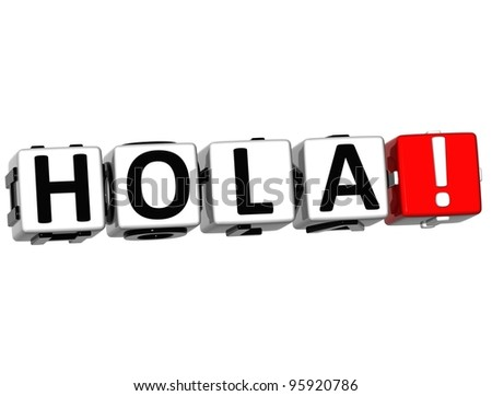 3D Hola block text on white background