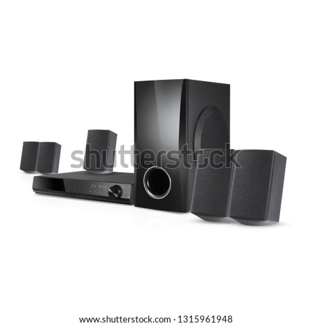 3D Home Theater Receiver and Speaker System Isolated. Side View Home Cinema Entertainment System. Data Surround Speakers. Acoustic Audio Stereo Sound 5.1 Channel Output. Household Electrical Equipment