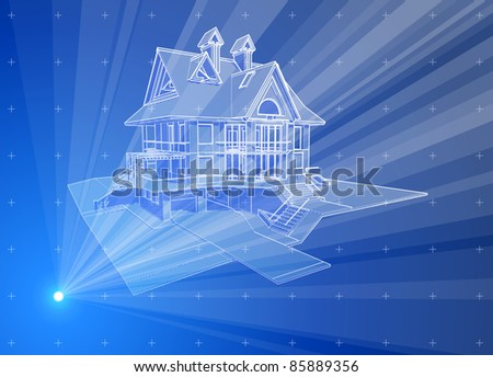 3d house: blue radial technology hologram. Bitmap copy my vector ID 81592384