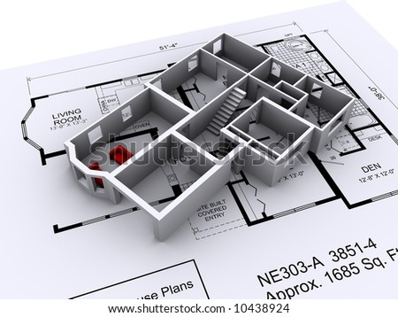 Modern Home Design Plans on Design On 3d House Design On A Set Of Architectural Plans Stock Photo