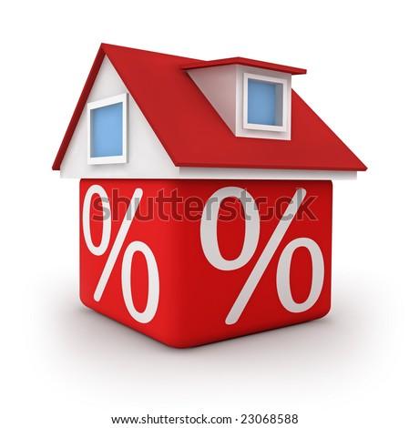 3D house from red cube with  percent symbol