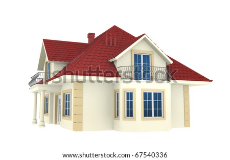 3d house isolated on white background. This is a detailed 3D render.