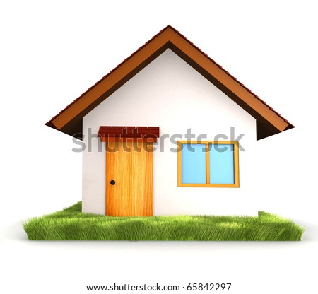 3D House isolated over a white background